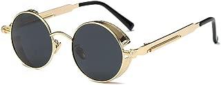 BOZEVON Men & Women Retro Sunglasses - Steampunk Style UV400 Small Round Sunglasses Polarized Lens Metal Frame Classic Eyewear