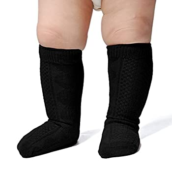 Epeius Unisex-Baby 3 Pair Pack Seamless Cable Knit Knee High Socks Infant Boys/Girls Uniform Stockings for 3-12 Months,Black