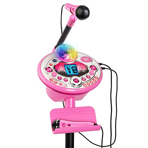 in budget affordable Karaoke system VTech Kidi Star 2 with microphone, mic stand and power supply, pink