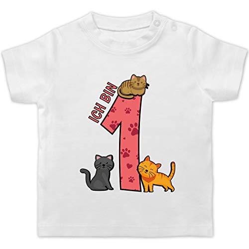 Geburtstag Baby - 1. Geburtstag Katzen - 18/24 Monate - Weiß - Geburtstag Shirt 1 Jahr - BZ02 - Baby T-Shirt Kurzarm