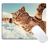 El cojín de ratón del Juego de Virsaa CREA la Estera, diseño Divertido Lindo del Gato Que Vuela del Cielo del Vuelo,Estera de Goma de 11.8'x 9.8', Grosor de 3 mm