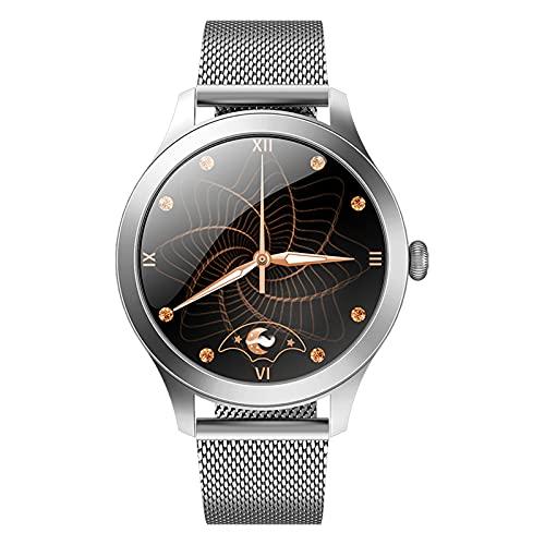 QFSLR Smartwatch Mujer, Reloj Inteligente con Monitor De Frecuencia Cardíaca Monitor De Presión Arterial Ciclo Menstrual Femenino Monitoreo De Oxígeno En Sangre Podómetro,Plata