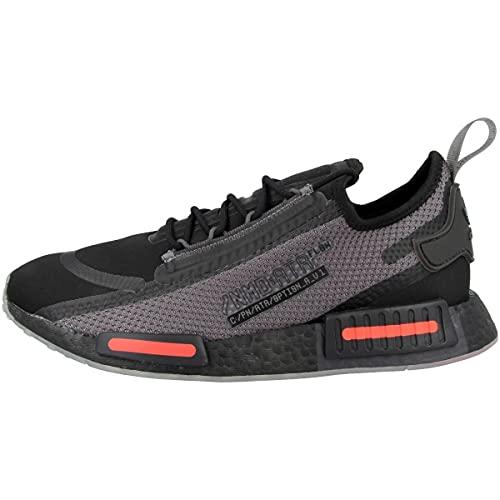 adidas Sneaker da uomo Low NMD_R1 Spectoo, Core Black Grey Five Solar Red Fz3204, 43 2/3 EU