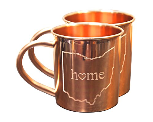 Home State Copper Mugs for Moscow Mules - Ohio Mug - 100% Pure Copper Mug - Best for Moscow Mules Lovers - Set of 2 Copper Cups - 14 OZ by Alchemade