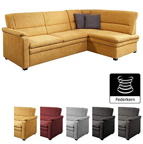 Cavadore Ecksofa Pisoo mit Ottomane rechts L-sofa, mit Federkern im klassischen Design, 245 x 89 x 161, Flachgewebe Gelb