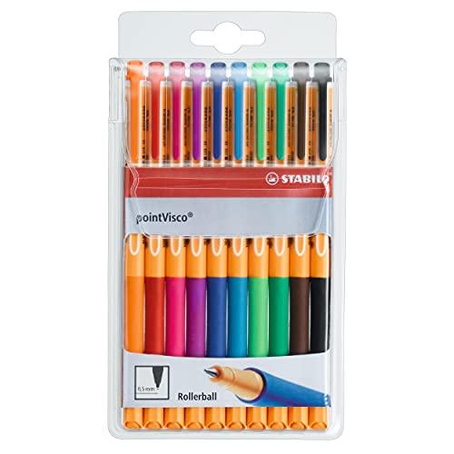 Penna Roller a inchiostro Gel - STABILO pointVisco - Astuccio da 10 - Colori assortiti