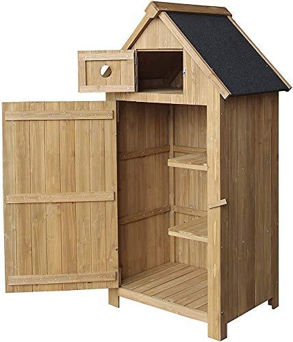 Schlanke Holzgartenschrank mit Asphalt Dachbeschichtung für die Lagerung, für Werkzeuge und Spielzeug Speicherung,Wood color