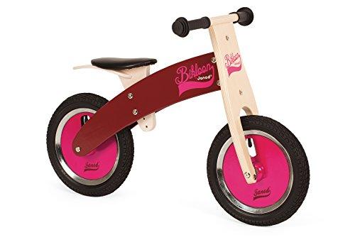 Janod 03264 - Laufrad aus Holz, höhenverstellbarer Sitz von 40 bis 44 cm, aufblasbare Reifen, pink/Burgunderrot