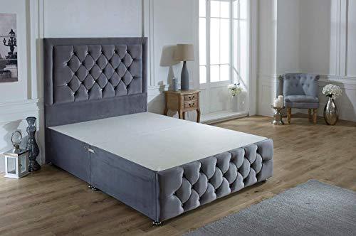 ComfoRest, Bedding & Upholstery Innovation Leader Comfort24 Steel Plush Velvet Sara Plus Divan Base With 54' Sara Headboard And NO Drawers (3FT - Single)