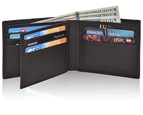 Billetera de bolsillo frontal de piel marrón para hombre con protección RFID 1 ID plegable