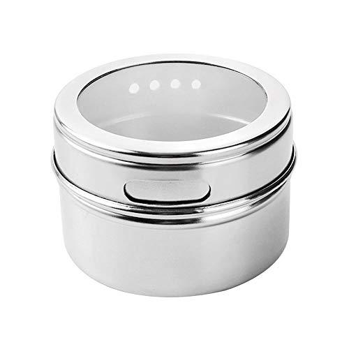 8 Caja de botella de especias de olla de condimento de acero inoxidable visible a prueba de polvo magnético, juego de barbacoa al aire libre, estante para tarro, coctelera, lata, suministros de cocina