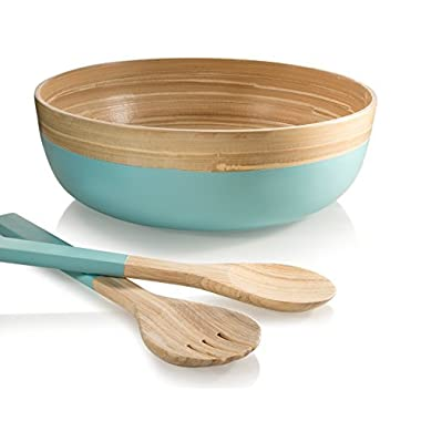 Francois et Mimi 3 Piece Bamboo Salad Bowl Set with Utensils,12  Diameter (Azure)