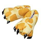 Casa Unisex Adulto Cosplay Costume Animale Scarpe Peluche Pantofole Con Animali a Zampa,Donna Ciabatte Invernali Stivali Cnimali Slippers, taglia 35-40 Giraffa