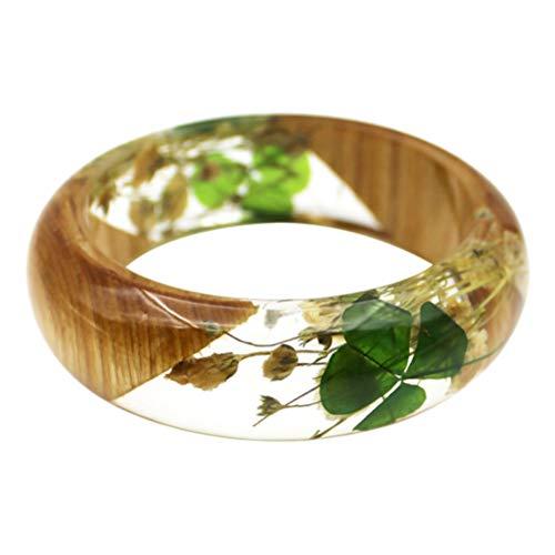 KESYOO 1Pc Gedroogde Bloem Armband Hars Gedroogde Plant Elegante Gypsophila Gedroogde Klaver Sieraden Armband Voor Dames Meisjes Vrouwen