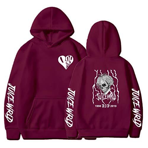 Rapper Hoodie Hombres Mujeres Hip-Hop Suéter con Capucha Pareja de Invierno Suéter con Capucha Rojo Vino