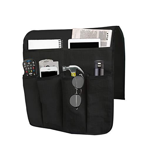 Organizer per bracciolo Divano, Caddy per Poltrona con 6 Tasche per Caricatore, Libri, Telecomando TV, Telefono Cellulare, iPad (Nero)