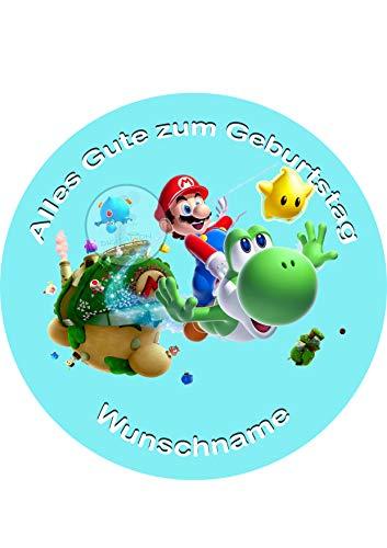 Für den Geburtstag ein Tortenbild-Wunschname, Zuckerbild mit dem Motiv: Mario Bros, Essbares Foto für Torten, Tortenbild, Tortenaufleger Ø 20cm - Super Qualität, 4012b