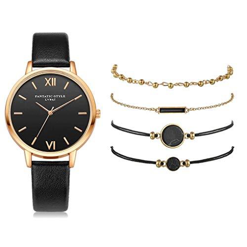 Conjunto de Relojes de Pulsera Reloj de Cuarzo Negro para Mujer Reloj de Lujo para Mujer para Regalo Negro