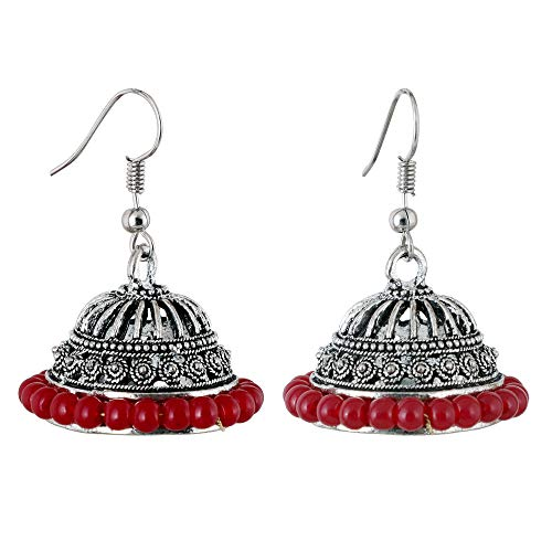 Sansar India Oxidized Red Beads Jhumkas Jhumki Indian Earrings Jewelry for Girls and Women--2514
