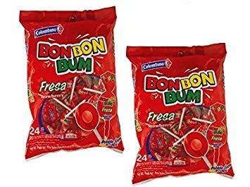 Bon Bon Bum Fresa Paletas 408 gr. - 2 Pack | Strawberry Lollipops 14.4 oz. x 24-2 Pack.