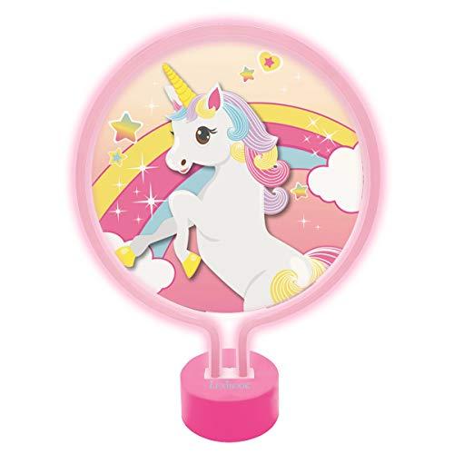 LEXIBOOK Lámpara de Neón, luz Nocturna para Las niñas Que adoran los Unicornios, rosa-LTP100UNI, Color Rosa