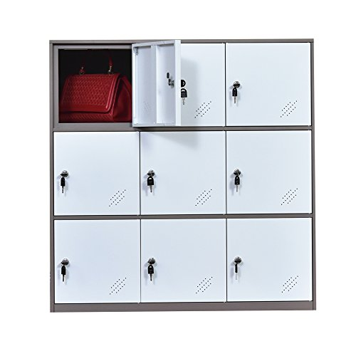 9 Door Metal Locker, Office Cabinet Locker,Living Room and School Locker Organizer,Home Locker Organizer Storage for Kids,Bedroom and Office Storage Cabinet with Doors and Lock for Cloth White