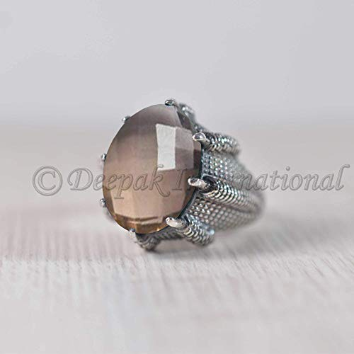 SMOKY QUARTZ 925 STERLING SILVER HANDMADE RING SIZE 5-11 AS PER YOUR ORDER NOTE