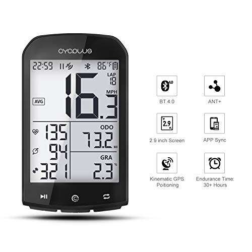 CYCPLUS GPS Bike Computer Waterproof Bicycle Speedometer and Odometer ANT+ Wireless Cycling Computer Bluetooth Compatible with App 2.9 Inch LCD Display with Backlight M1