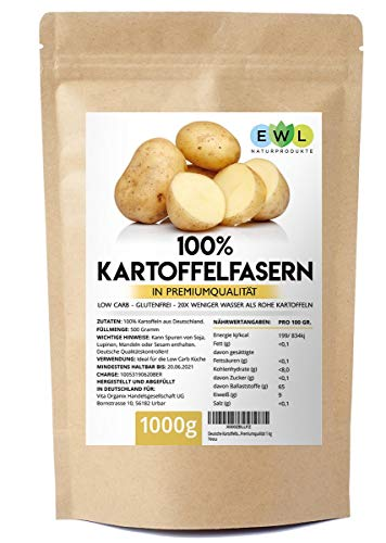 Kartoffelfasern Kartoffelmehl Kartoffelfasermehl I 1kg Deutsche Premiumqualität aus deutschen Kartoffeln I Kartoffelfaser abgefüllt in Deutschland im wiederverschließbaren Beutel