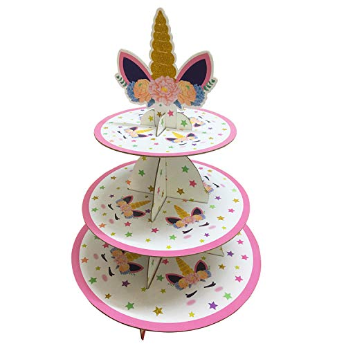 Unicorn Cupcake Stand  3 Tier Desert Cupcake Stand Tower for Kids Birthday Party Baby Shower Gender Reveal Party  Unicorn Themed Party Supplies