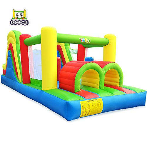 YARD Inflatable Obstacle Course w/ Heavy Duty Blower 0.4mm Vinyl Bouncing Floor Indoor Outdoor Large Bounce House Slide Climbing Wall Combo 6 in 1