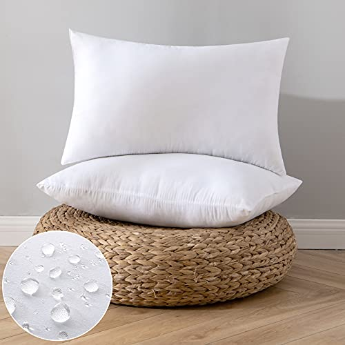 EMEMA Pack of 2 Outdoor Pillow Inserts Waterproof Throw Pillow Premium Fluffy Decorative Cushion Rectangle Inner Soft for Patio Furniture Garden Sleeping Bed Couch Sofa Bedroom 12x20 Inch 30x50 cm