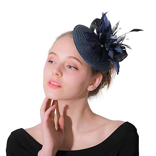 Huangjiahao-AC Chapeau de mariée Fascinators Chapeau pour Femmes - Épingle À Cheveux Cocktail Chapeaux Pillbox Chapeau pour Le Thé Party Derby De Mariage Royal Banquet Chapeaux pour la mariée Mariage