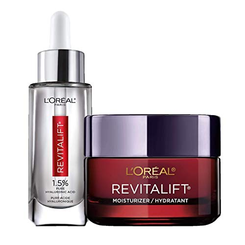 L'Oreal Paris Revitalift Anti-Aging Skin Care Regimen Kit with Hyaluronic Acid Facial Serum and Triple Power Face Moisturizer, Paraben and Fragrance Free, 2 count