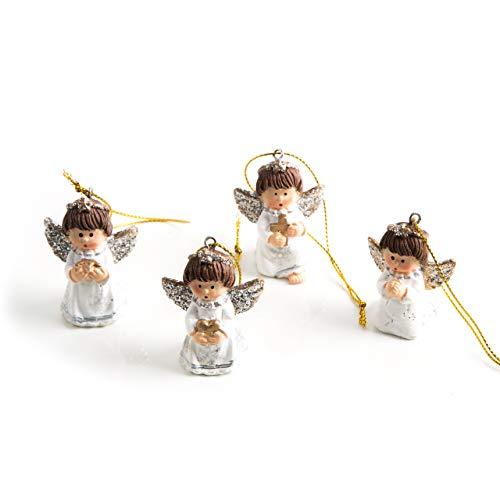 Set di 4 angioletti pendenti, 5 cm, con cordino, colore bianco/oro/argento, decorazione per albero...