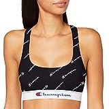 Champion Racer Crop Top Sujetador Deportivo, Negro Logo Blanco, XL para Mujer