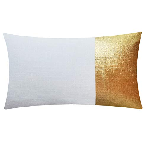 Aitliving Metallic Gilding Gold Print Throw Pillow Case Off White Linen Blend Block Panel Pillow Cover 12X20inch Breakfast Cushion Shell Accent Bolster Pillow Sham 30X50cm