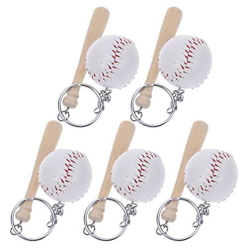 NUOBESTY Chaveiro de beisebol com 5 peças de chaveiros de madeira com morcego chaveiro esportivo para lembrancinhas de festa de beisebol, festa de aniversário