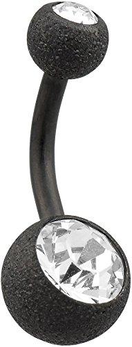 PIERCINGLINE Bauchnabelpiercing Chirurgenstahl | Diamantoptik | 2 Kristalle | Piercing Bananabell Banane | Farb & Größenauswahl