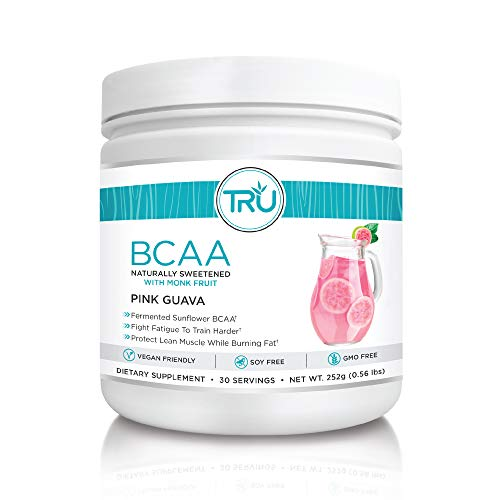 TRU BCAA Powder, Plant Based Branched Chain Amino Acids, Vegan Friendly, Zero Calories, No Artificial Sweeteners or Dyes, Improve Fat Loss (30 Servings, Pink Guava)