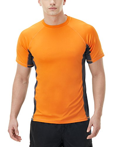 TSLA Bademode Kurzarm Top UV-Schutz UPF 50+ Quick-Dry Rash Guard für Herren, Mss01 1pack - Orange & Charcoal, XL