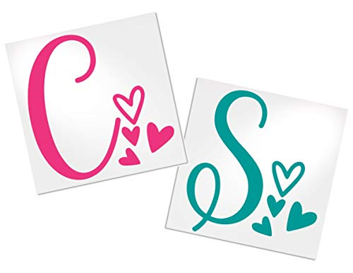 Letter Decal with Hearts for Cup, Car, Planner, Laptop, Your Choice of Color & Style   Decals by ADavis
