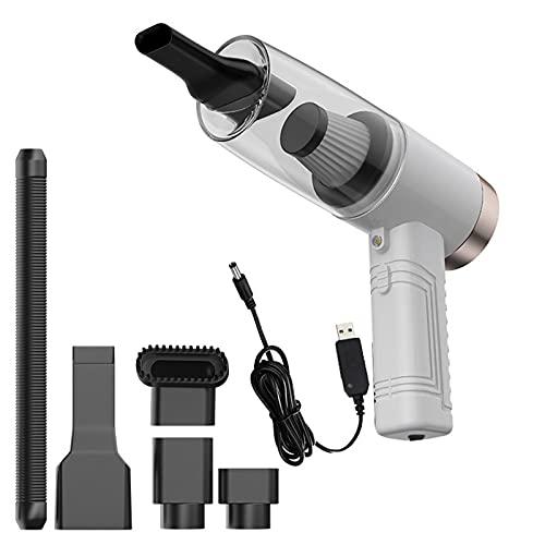 Aspirador de Mano Sin Cable Vacuum Cleaner con LED 4500pa Seco y Mojado Plastico Filtro Extraíble Recargable y Portátil para Coches,White