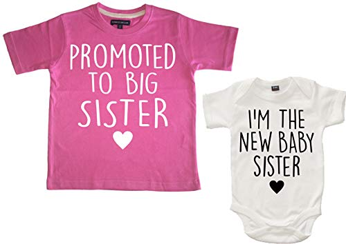 """Edward Sinclair Conjunto de camiseta y body para bebé con texto en inglés """"Promoted to Big Sister"""" y """"I"""