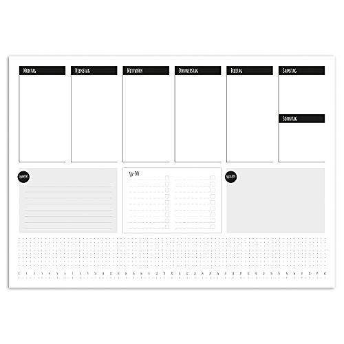 Schreibtisch-Unterlage To-do schlicht I dv_288 I DIN A3 I 25 Blatt I Wochenplan Wochenplaner Schreib-Unterlage Organizer zum Beschreiben neutral