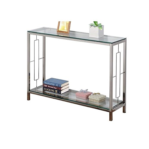 Mejor Flash Furniture Riverside Collection Black Glass Console Table with Shelves and Stainless Steel Frame crítica 2020