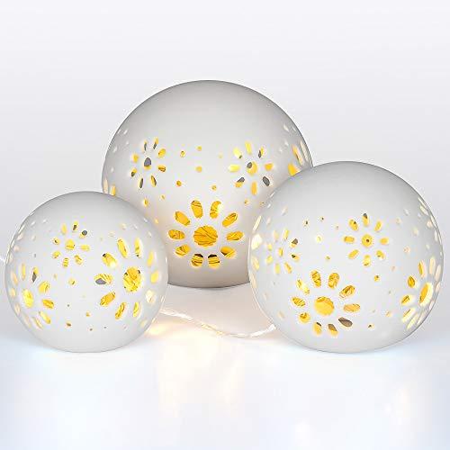 Gadgy 3 Bollampen keramiek met lichtsnoer - witte tafellamp op batterijen – LED sfeer verlichting - Ø 8/10/12 cm