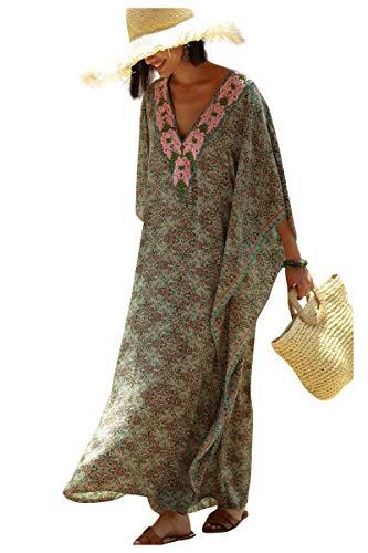 Vestido Boho Mujer Largo Talla Grande Camisolas y Pareos Indios Bohemio Hippie Tunica Piscina Caftan Africano Kaftan Etnico Kimono Flores Ropa Hawaiana Traje de Baño Bikini Cover Up