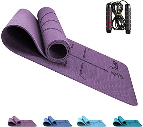 ANVASK Gymnastikmatte, Yogamatte rutschfest Sportmatte für Training Pilates Gymnastik, TPE Fitnessmatte Joga matten + Springseil, Naturkautschuk Yoga Matte für zuhause - 183 x 61 x 0,6cm