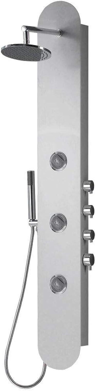 Aluminium Duschsule Duschpaneel Regendusche Massagedüsen Silber Sanlingo